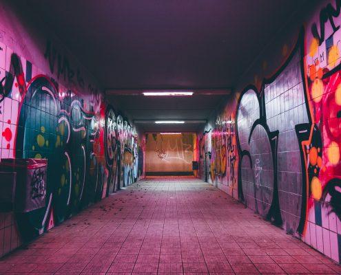 anti graffiti paint in a tunnel makes removing graffiti easy
