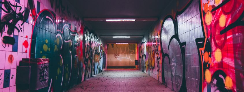 anti graffiti paint in a tunnel makes removing graffiti easy
