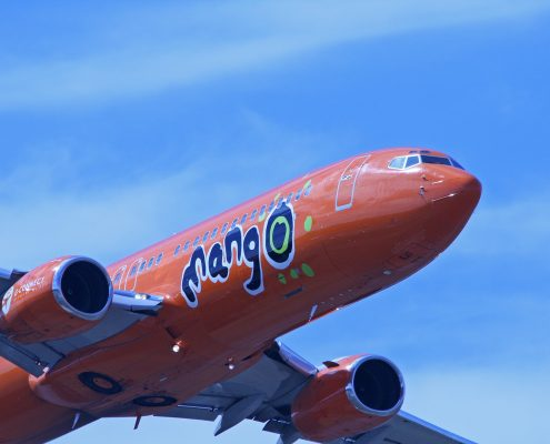 South African Mango airlines airplane with aerospace coatings